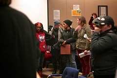 Photo Credit: TRIBUNE PHOTO: KELSEY OHALLORAN - Protesters speak out at the Jan. 20 Portland Public Schools board meeting.