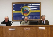 Photo Credit: MARK MILLER - Council President Doug Morten (left) makes his pitch for reelection at a St. Helens City Council meeting Wednesday, Jan. 21, as Mayor Randy Peterson (center) and City Administrator John Walsh (right) listen.