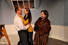 Photo Credit: CONTRIBUTED PHOTO: MICHAEL HENLEY - From left, Paul, played by Brick Andrews, and Corie, Lisa Sorenson, celebrate moving into their new apartment while Cories mother, Cheryl Nelson, looks on.