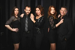 Photo Credit: CRAIG MITCHELLDYER/BROADWAY ROSE THEATRE COMPANY - Pictured from left is the cast of Broadway Rose's 'The World Goes 'Round.' including Ecaterina Lynn, Joey Cote, Jennifer Goldsmith, Erin Charles and Andrew W. Foster.