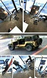 Photo Credit: CCSO - Photos of the store damage and surveillance stills of the crime and suspect Jeep. Tips are sought.