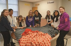 Photo Credit: SUBMITTED - This group of Ninety-One School seventh- and eighth-graders is making blankets for local homeless veterans as part of the Hearts for Helping club.