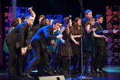 Photo Credit: SPOKESMAN PHOTO: JOSH KULLA - The members of Soul'd Out, Wilsonville High School's award-winning a cappella group, took to the stage Friday night for the ICHSA regional semifinals. Soul'd Out placed second in the competition.