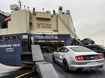 Photo Credit: COURTESY PORT OF PORTLAND - New Ford Mustang's are being shipped through the Port of Portland to international markets.