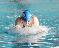 Photo Credit: JEFF WILSON/THE PIONEER - Madras senior Sophie Gemelas works her way to the 100-yard breaststroke title Saturday during the Special District 3 swim meet. Gemelas will make her fourth trip to the state meet.