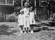 Photo Credit: SUBMITTED PHOTOS - Marge with her mother, Veda, and friend Betty Lafeman, in front of her home on 4th Ave.