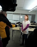 Photo Credit: NEWS-TIMES PHOTO: NANCY TOWNSLEY - Joseph Gale Elementary Principal Gretchen Schlag talks to television reporters about additional security measures after a man entered the Forest Grove school Thursday and picked up -- then put down -- a third-grade boy.