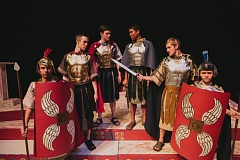 Photo Credit: PHOTO BY KEVIN RICH - From left to right, are: Quentin Peterson, Levi Field (Cassius), AJ Moss (Brutus), Brian Douglas (Marc Antony), Blake Dunbar and Jared Shobe.