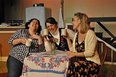 Photo Credit: COURTESY PHOTO - Left to right: Percy (played by Jessica Reed), Hannah (played by Jeanna VanDyke) and Shelby (played by Jennifer Yamashiro) enjoy a laugh while poring over raffle entries.