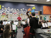 Photo Credit: OUTLOOK PHOTO: TERESA CARSON - Andres Lopera, director of Portland's Metropolitan Youth Symphony worked with groups of young musicians at several schools in the Gresham-Barlow School District.
