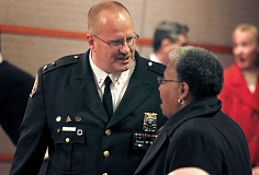 Photo Credit: PORTLAND TRIBUNE PHOTO JONATHAN HOUSE - Portland Police Chief Larry O'Dea talked with civil rights leader Avel Gordly after being sworn in on Jan. 13.