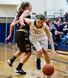Photo Credit: NEWS-TIMES PHOTO: KENT FRASURE - Banks senior Hannah VanDomelen drives past Gabby Hobson of North Bend during last Saturday's Class 4A girls basketball play-in game.