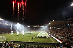 TRIBUNE PHOTO: JAIME VALDEZ - Fireworks go off at Providence Park before Saturday night's MLS season opener for the Portland Timbers, who settled for a 0-0 draw against Real Salt Lake.