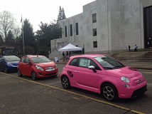 COURTESY: ZACH HENKIN/DRIVE OREGON - Drive Oregon offered free rides in all-electric vehciles at the State Capitol to mark the release of its report on their economic benefits.