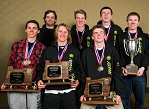 MIKE JULIANA - The West Linn boys ski team finished another dominating season on the mountain by capturing its fifth straight state championship over the weekend. The team is front row, left to right:  Connor Splitstoser, Dylan Tuor and Grant McDonald. Back row:  coach Rob Hammond, Mickie Seigneur, Chris McNabb and Trevor Maxwell. Not pictured: coach Shawn Darris.