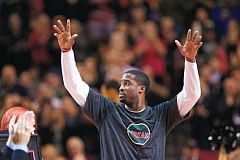 TRIBUNE FILE PHOTO: JAIME VALDEZ - Wesley Matthews acknowledges the crowd at Moda Center as he is saluted in January for surpassing Terry Porter as the Trail Blazers all-time leader in 3-pointers.