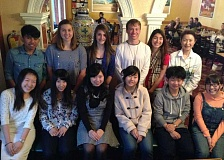SUBMITTED PHOTO - Gathering at the farewell dinner are, from back left, Madras High students Joseph Calica, Sophie Gemelas, Jayme Bomeke, Ingrid Sanchez, and Japanese chaperon Fumiko Suzuki. Front left, Kana Kobayashi, Moe Hori, Miho Hayashi, Ai Murata, Keidai Sato, and Rino Watanabe.