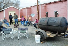 BILL VOLLMER PHOTO - The Elks Lodge in Forest Grove provided barbecue equipment for the pig roast fundraiser last Saturday at the Madras Elks Lodge.