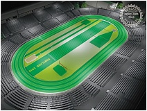 COURTESY OF TRACKTOWN USA - A rendering shows the setup envisioned for the World Indoor and U.S. Indoor championships in March 2016 at the Oregon Convention Center.