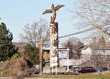 HOLLY M. GILL - The 'story pole' that has greeted northbound visitors to Madras since 1988 has been removed to make way for the U.S. Highway 97/J Streetproject.