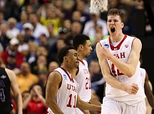 COURTESY OF DAVID BLAIR - Jakob Poeltl gets fired up as the Utah Utes advance in the NCAA Tournament at Moda Center.