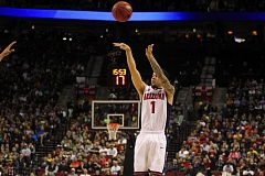 COURTESY OF DAVID BLAIR - Gabe York of Arizona has space to take one of his nine 3-point attempts (he made five) during Saturday afternoon's NCAA Tournament third-round game at Moda Center.