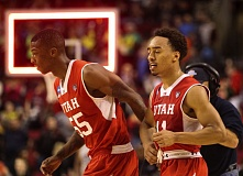 Utah's Delon Wright (left) and Brandon Taylor look relieved after the Utes prevailed against Georgetown in a third-round NCAA Tournament game Saturday night at Moda Center.