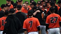 COURTESY OF SCOBEL WIGGINS - Oregon State teammates surround pitcher Drew Rasmussen after his perfect game Saturday against Washington State.
