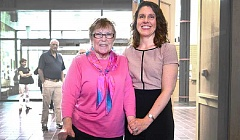 COURTESY OF MULTNOMAH COUNTY  - Former Commissioner Gretchen Kafoury stood with her daughter, Chair Deborah Kafoury, at the Chair's public swearing at the Multnomah County Midland Library on June 9, 2014.