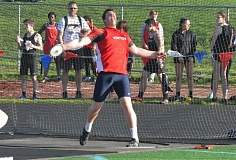 TIMES PHOTO: MATT SINGLEDECKER - Westview's Tristan Carroll took first place in the discus against Southridge on Thursday.