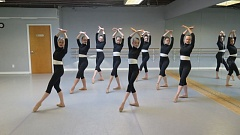 PHOTO BY: JOANNE CHEECHOV - Practicing a basic pose are, from left, Annabel Kaplan, Calla Lichtenwalter, Etta Partridge, Natalie Cheechov, Ruby Staczek, Megan McEntee, Sophie Marcus and Devin Lyon.