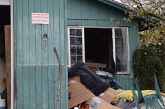 COURTNEY VAUGHN - Entry is to an abandoned house on Kelly Street in St. Helens is prohibited following a minor fire set by people staying in the home illegally.