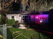 PHOTO FROM CLACKAMAS FIRE DISTRICT #1 - This vacant house in the 4500 block of S.E. Harrison in Milwaukie caught fire twice in 24 hours.