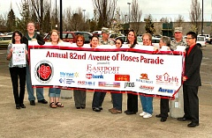 DAVID F. ASHTON - These volunteers, who are behind the 82nd Avenue of Roses Parade (and this years banner), say they hope youll reserve Saturday, April 25th, for their ninth annual march.