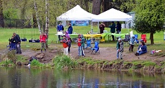 ODFW - Anglers line up along the banks of Canby Pond for a free youth fishing event hosted last year by the Oregon Department of Fish and Wildlife. The action returns to Canby's favorite fishing hole Saturday from 9:30 to 2 p.m.