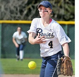 GARY ALLEN - Special delivery - Madison Sorenson launches a pitch during George Fox's 6-5 victory over Linfield Sunday at Morse Athletic Fields. The Bruins swept a doubleheader over the Wildcats to remain in a first-place tie with Whitworth at 13-3 in Northwest Conference play.