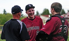 DAN BROOD - GOOD TIMES -- From left, Sherwood coach Jon Strohmaier, Zak Taylor and Adley Rutschman celebrate a win during the 2014 season.