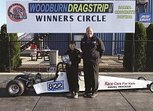 COURTESY OF WOODBURN DRAGSTRIP - Ryan Dick of Astoria (left) won the World of Speed Jr. Storm category Friday at the Woodburn Dragstrip, helping to get the 2015 drag racing season started.