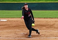 DAN BROOD - BRINGING THE HEAT -- Tualatin High School senior Emily Sorem fires a pitch to the plate during the Timberwolves' 6-0 win over Central Catholic. Sorem gave up just two hits and struck out 13 batters in the victory.