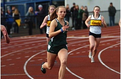DAN BROOD - WINNING FORM - Tigard fresham Lauren Paven gets off to a fast start in the 800-meter run during last week's Three Rivers League dual meet at Canby. Paven won the 800 and the 100 in addtion to running for a pair of winning Tiger relay teams during the meet.