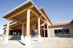 KEVIN SPERL - This photo features the outside look at the main entrance to the new school.