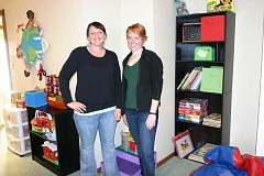 JASON CHANEY - MorningStar Family Relief Nursery staff pose for a photo in the therapeutic classroom at the new Prineville location. Pictured above are Family Coach Stepheni Lester (left) and Interventionist Kelly Phelan.