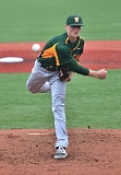 VERN UYETAKE - West Linn ace Karsen Lindell fires a pitch in Monday's league game with Lake Oswego. Lindell gave up a run in the first inning but kept Lake Oswego off the board the rest of the way in an 11-1 victory.
