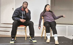 GARY ALLEN - Rehearsals - JR Jackson and Alivia Weigand rehearse their roles as 'Yusef' and 'Akisha' Monday evening at the Masonic Lodge.