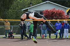 JOHN WILLIAM HOWARD - Scappoose senior Asa Flanagan had a career day at the Lower Columbia Invitational on Saturday, April 11, taking second in the high jump and winning the triple jump.