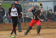 TIMES PHOTO: MATT SINGLEDECKER - Westview senior catcher Katie Whetstine forces out a Southridge runner for a double play during the Wildcats win over the Skyhawks on Tuesday.