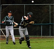DAN BROOD - STRONG DEFENSE -- Tigard High School senior catcher Tyler Prock (right), in front of pitcher J.T. Greenough, makes a throw to first base after fielding a bunt in Friday's game at Lakeridge.