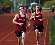 DAN BROOD - Tualatin's Mark French (left), Matthew Lovos and Adam Klein claimed the top three spots in the 1,500-meter run at last week's meet.
