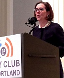 PAMPLIN MEDIA GROUP: HILLARY BORRUD - Gov. Kate Brown told members of the City Club of Portland Friday that she was working to restore confidence in state government and to make higher education more affordable.