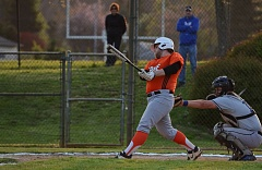 JOHN WILLIAM HOWARD - Scappoose senior Blake Millar sends his walk-off single into the outfield in the bottom of the seventh on Friday evening. With the 6-5 win over Valley Catholic, the Indians are off to a 4-0 start in Cowapa League play.